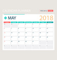 may 2018 calendar or desk vector image vector image