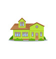 modern green house with brown roof big wooden vector image vector image