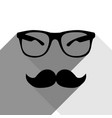 mustache and glasses sign black icon with vector image vector image