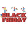 people on caption black friday sale shopping vector image vector image