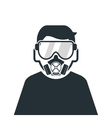 person wearing gas mask icon vector image