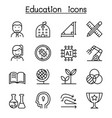 school education icon set in thin line style vector image vector image
