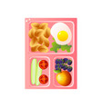 school lunch tray with fried egg and pasta vector image vector image