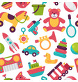 seamless pattern background kid toys cartoon play vector image vector image