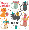 Seamless pattern with happy birthday cats