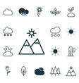 set of 16 nature icons includes snowstorm vector image vector image
