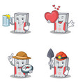 set of computer character with juice love explorer vector image