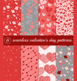 set seamless valentine s day patterns in pink vector image