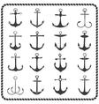 set sixteen hand drawn anchors vector image