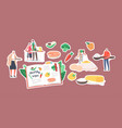 set stickers characters cooking healthy food vector image vector image