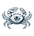 silhouette marine oceanic crab with claws vector image vector image