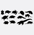 turtle and anteater animal silhouette vector image vector image