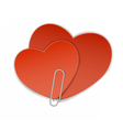 two heart paper clip vector image vector image