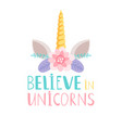 unicorn horn and flowers poster vector image