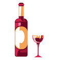 wine bottle and glass organic farm product vector image