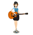 Woman playing the guitar vector image vector image