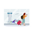 women in airport cartoon passenger rolls suitcase vector image