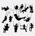 Swing children playing silhouette vector image