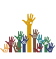 Social media icons in hands vector image