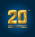 20 years anniversary celebration logotype golden vector image vector image