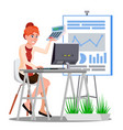 accounting woman counting money at the table with vector image