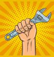 adjustable wrench pop art vector image