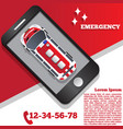 ambulance in form a mobile application vector image vector image