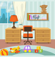 baby room interior with bed and toys in flat style vector image vector image