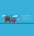 banner with offshore sea oil platform vector image vector image