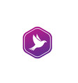 bird or dove open wings and fly inside a circle vector image vector image