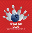 bowling club on retro red background poster vector image vector image