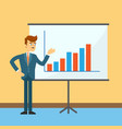 businessman near board with financial chart vector image vector image