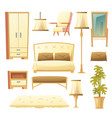 cartoon set of bedroom - interior set vector image vector image