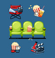 cinema symbols movie and theatre entertainment vector image vector image