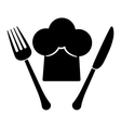 contour fork and knife with chef hat vector image vector image