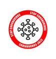 coronavirus icon with red prohibit sign covid-19 vector image