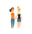 couple of women standing together holding hands vector image