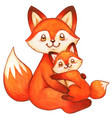cute watercolor fox mother and child vector image