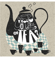 Decorative teapot and cups vector image