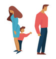 divorce and child custody ex husband wife and kid vector image vector image
