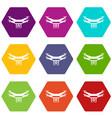 drone video camera icon set color hexahedron vector image vector image