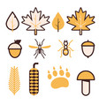 forest life line icons vector image
