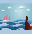 girl escorts sailing ship on a long journey vector image
