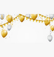 gold and white balloon with confetti vector image vector image