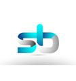 grey blue alphabet letter sb s b logo 3d design vector image vector image