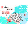 hand drawn abstract floral collage with i vector image