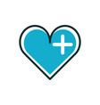 heart medical icon line fill vector image vector image