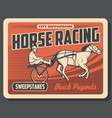 horse racing sweepstakes equestrians on track vector image vector image