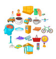 industrial area icons set cartoon style vector image vector image
