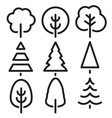 isolated black and white color trees in lineart vector image vector image
